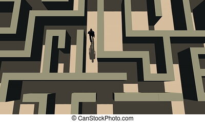 Top View of a Man Walking Through a Maze