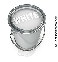 paint can - top view of a paint can full of white paint (3d...