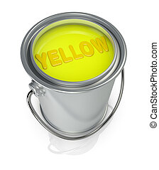 paint can - top view of a paint can full of yellow paint (3d...