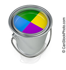 paint can - top view of a paint can with four colors (3d...