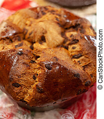 Top view of a panettone