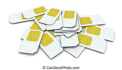 sim card - top view of a pile of sim cards (3d render)