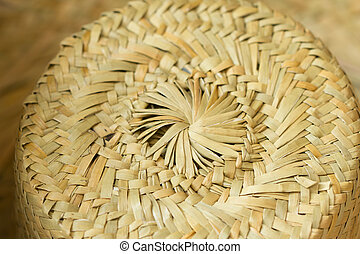 Top view of a round straw hat