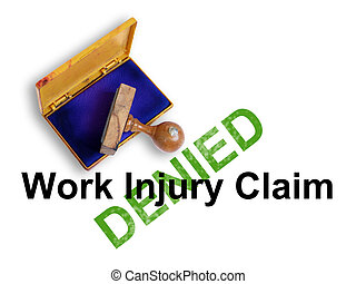 """injury - Top view of a rubber stamp with a giant word """"Work..."""