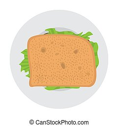 Top view of a sandwich on a plate