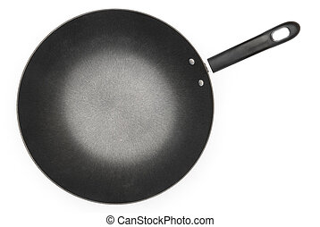 top view of a saucepan on white