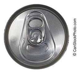 Top View of a Silver Soda Pop Can - Top Down View of a...