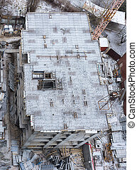Top view of a snow-covered construction site