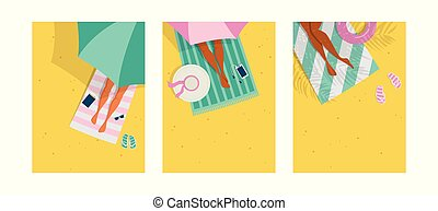 Top view of a summer background. Summer water activities. Women relaxing at the beach. Vector cards, poster design