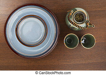 top view of a table setting