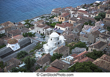 Top view of a traditional fortified town of Monemvasia, Greece.