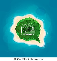 Top view of a tropical island in the ocean. Speech bubble...