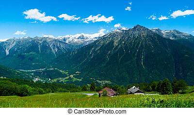 Top view of a village in the Swiss mountains.