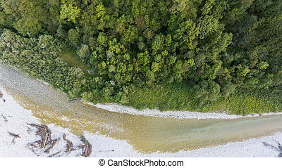 Top view of a wide river bed.