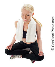 Top View of a woman meditating