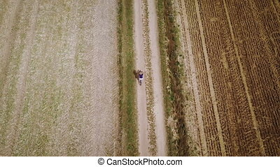 top view of a woman on bicycle