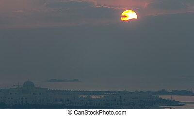 Top view of Abu Dhabi Skyline at sunset timelapse, United Arab Emirates