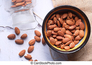 top view of almond nut in a bowl on table