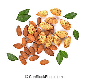 Top view of Almonds isolated on white background