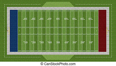 american football field - Top view of an american football...