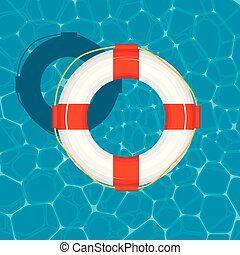 Top view of an inflatable ring floating on the water