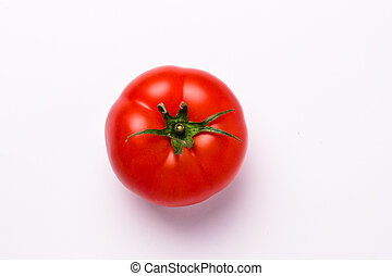 tomato - top view of an isolated tomato on white background