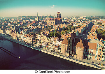 Top view of an old town in Gdansk, Poland. European travel ...