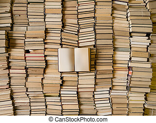 Top view of an opened book over lot of books. Wisdom concept