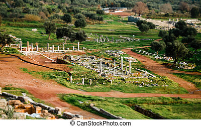 Top view of ancient ruins in Messina, Greece