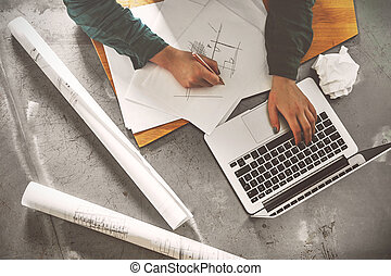 Top view of architect woman sketching in her office