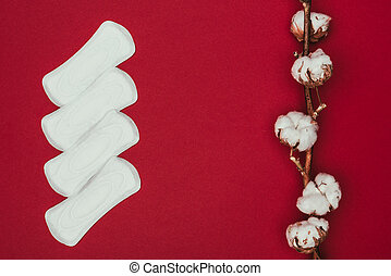 top view of arranged menstrual pads and cotton twig isolated on red