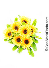 Top view of artificial sunflower bunch isolated on white background.