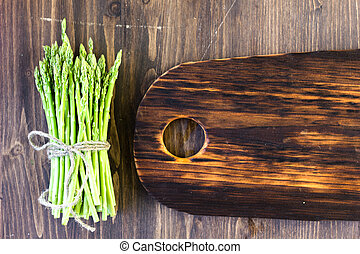 Top view of asparagus with copy space