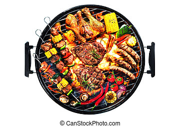 Top view of assorted delicious grilled meat with vegetables on barbecue isolated on white background
