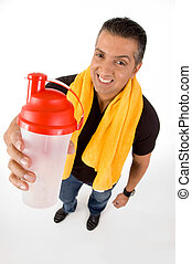 Top view of athlete with bottle
