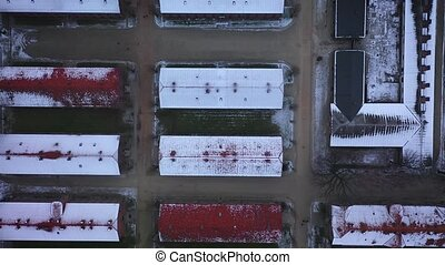 Top view of Auschwitz Birkenau, a concentration camp in...