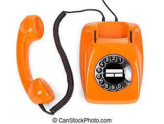 bakelite rotary phone - top view of bakelite rotary phone on...