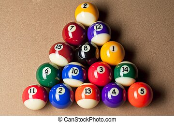 top view of balls arranged on pool table