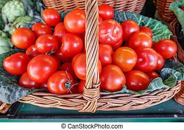 Top view of basket with tomatoes