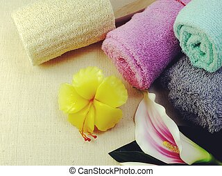 top view of bath towel and accessories shower with space copy background
