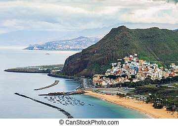 Top view of beach Las Teresitas in Tenerife, Spain
