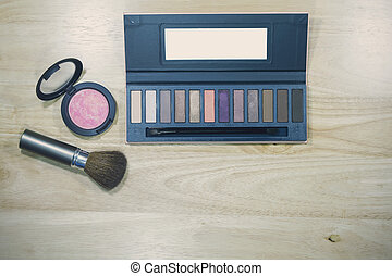 Top view of beauty powder cosmetics