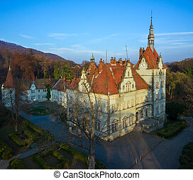 Top view of Beregvar Castle, residence and hunting house of the counts Schonborn. Mukachevo district, Transcarpathian region, Ukraine