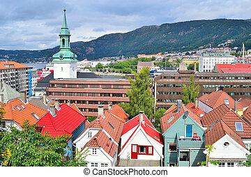 Top-view of Bergen, Norway