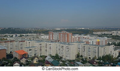 Top view of big city with block of flats outdoors in good day