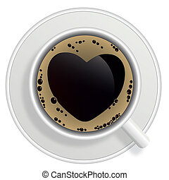 Top view of black coffee cup isolated on white background. ...
