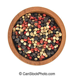 Top view of Black, red and white pepper in wooden bowl on white background