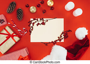 blank card, presents and christmas decorations