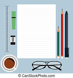Top view of blank paper with line red and green pencil, pen on blue desk with coffee glasses and office item. Vector illustration flat design.