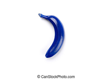 Top view of blue colored banana isolated on white